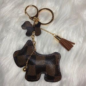Brown Checkered Dog Bag Purse Charm Keychain